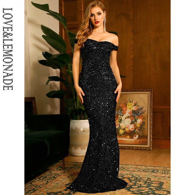 Czarna długa sukienka wieczorowa z cekinami i dekoltem carmen 1