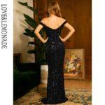 Czarna długa sukienka wieczorowa z cekinami i dekoltem carmen 2