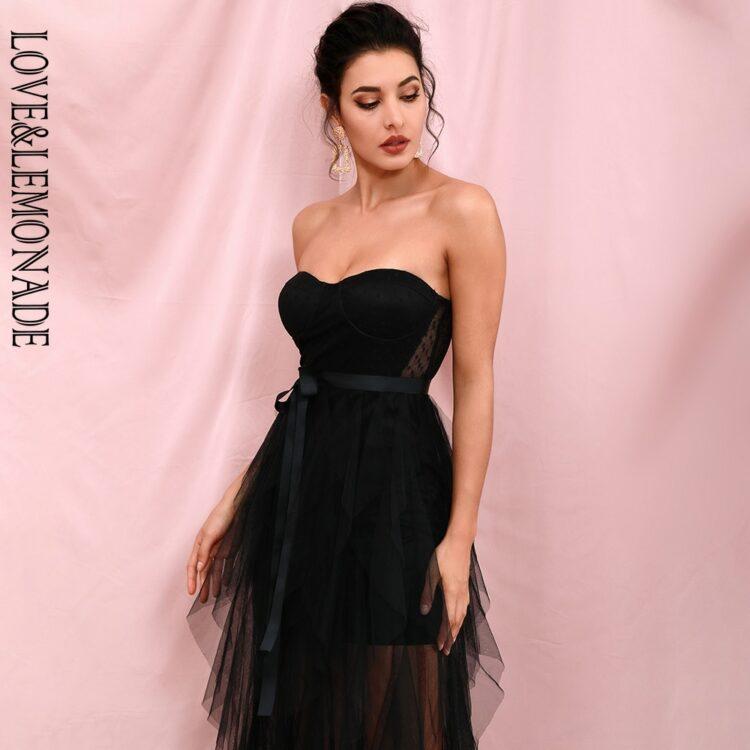 Czarna sukienka maxi wieczorowa warstwowa z odcięciem w pasie 1