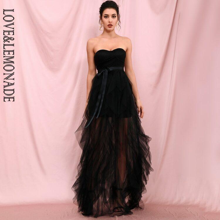 Czarna sukienka maxi wieczorowa warstwowa z odcięciem w pasie