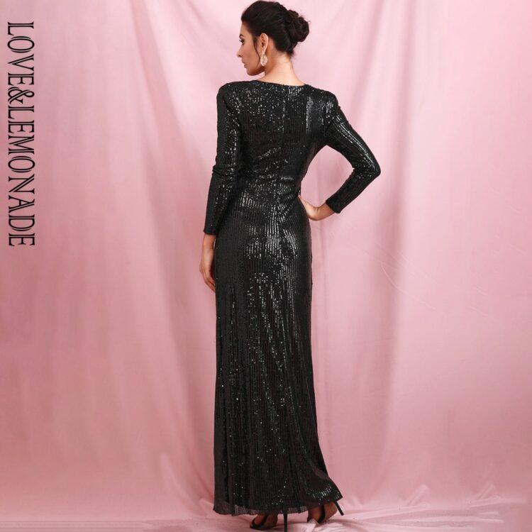 Czarna sukienka maxi wieczorowa z rozcięciem i długim rękawem 2