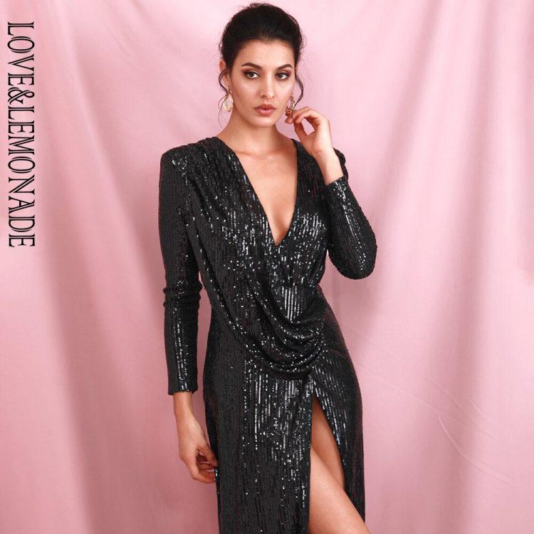 Czarna sukienka maxi wieczorowa z rozcięciem i długim rękawem
