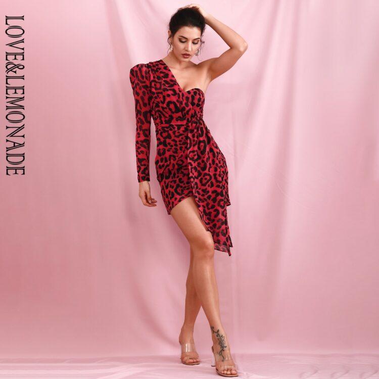 Czerwona sukienka mini panterka na jedno ramię 1