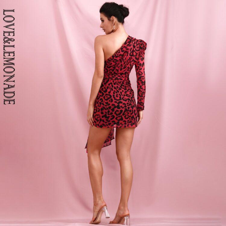 Czerwona sukienka mini panterka na jedno ramię 2