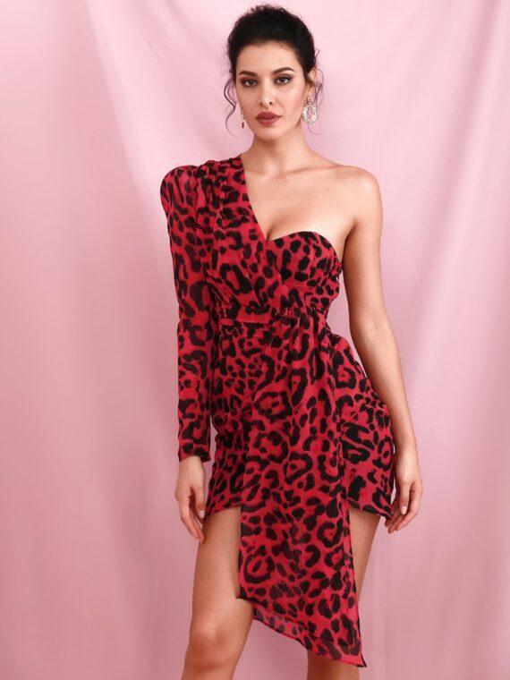 Czerwona sukienka mini panterka na jedno ramię