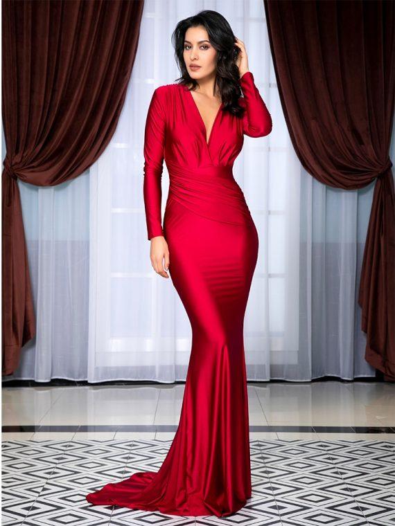 Czerwona wieczorowa sukienka elastyczna dopasowana kopertowa