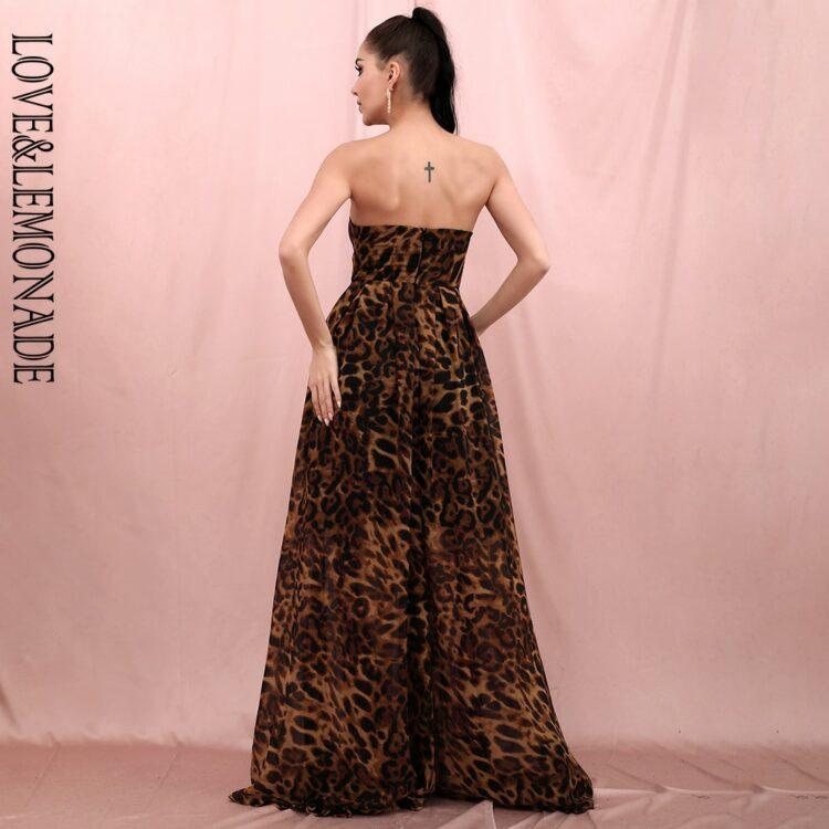 Długa brązowa sukienka panterka elegancka rozkloszowana 2