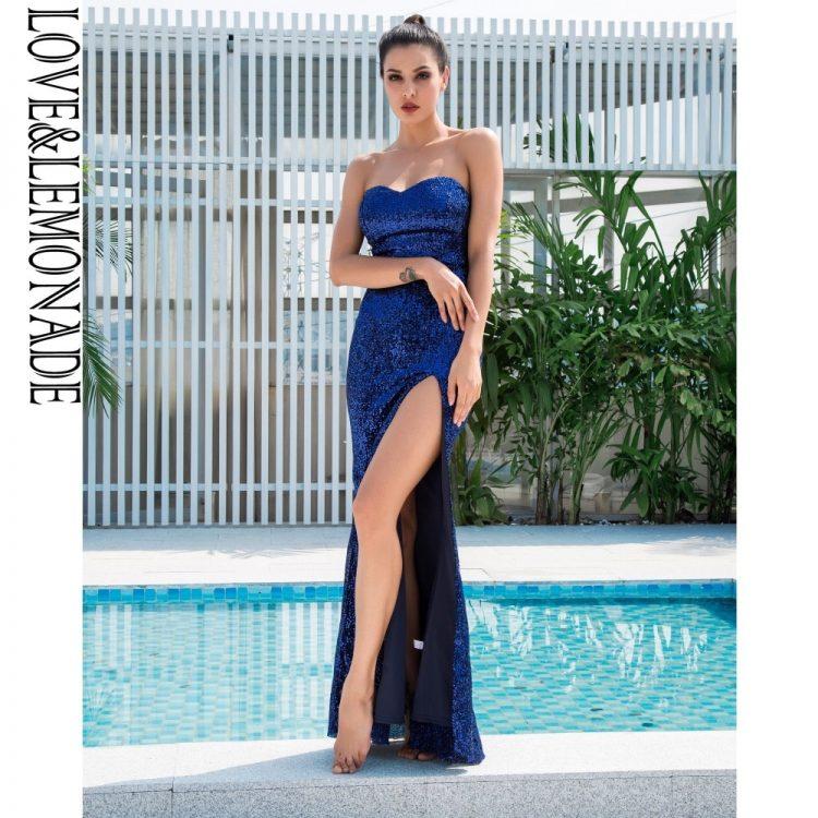 Długa chabrowa sukienka wieczorowa bez ramion z rozcięciem 1