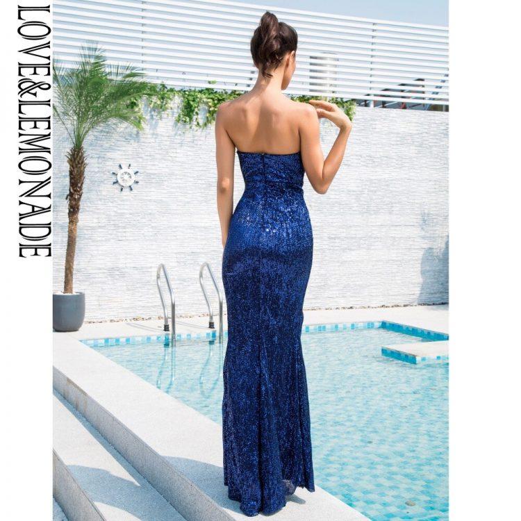 Długa chabrowa sukienka wieczorowa bez ramion z rozcięciem 2