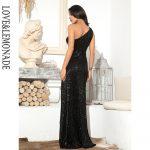 Długa czarna sukienka asymetryczna wieczorowa z cekinami 2