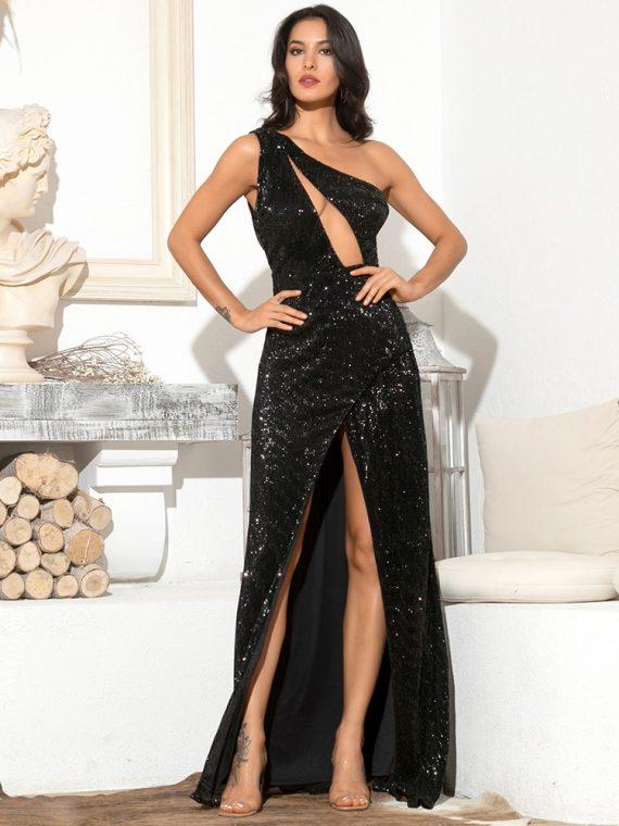 Długa czarna sukienka asymetryczna wieczorowa z cekinami