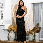 Długa czarna sukienka asymetryczna wieczorowa z zapięciem na szyi 1