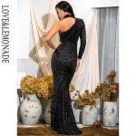 Długa czarna sukienka asymetryczna wieczorowa z zapięciem na szyi 2