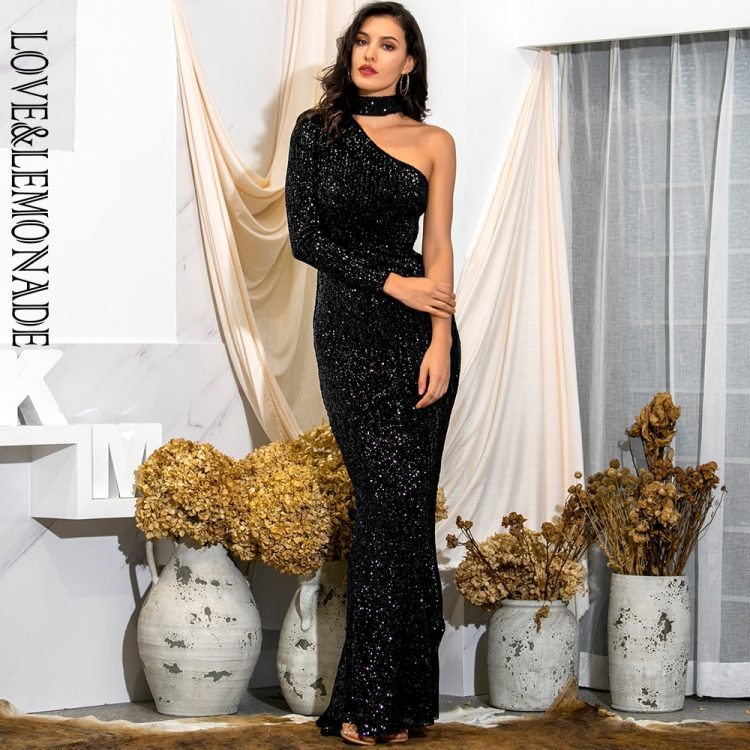 Długa czarna sukienka asymetryczna wieczorowa z zapięciem na szyi