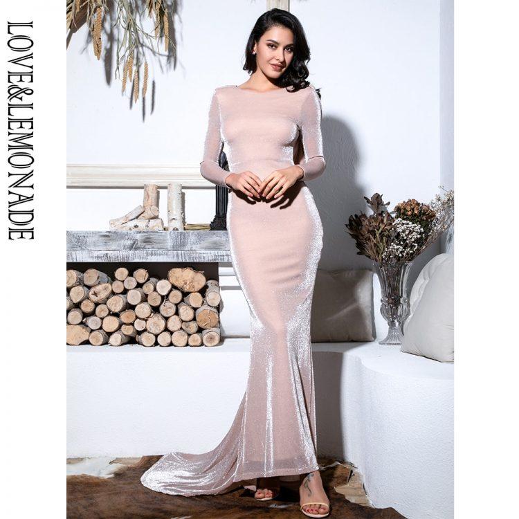 Długa jasno różowa sukienka rozkloszowana wieczorowa długi rękaw 1