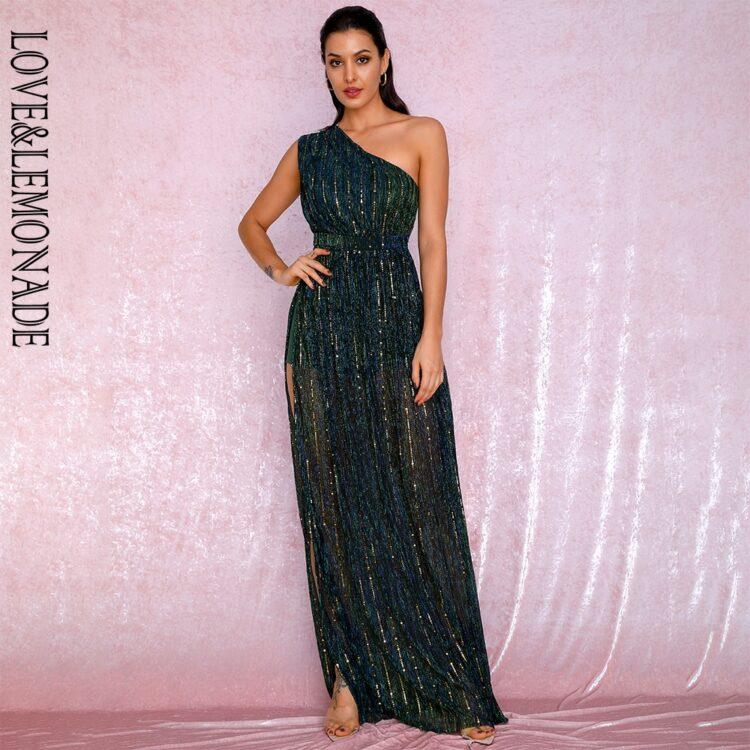 Długa zielona sukienka wieczorowa z asymetrycznym dekoltem 1
