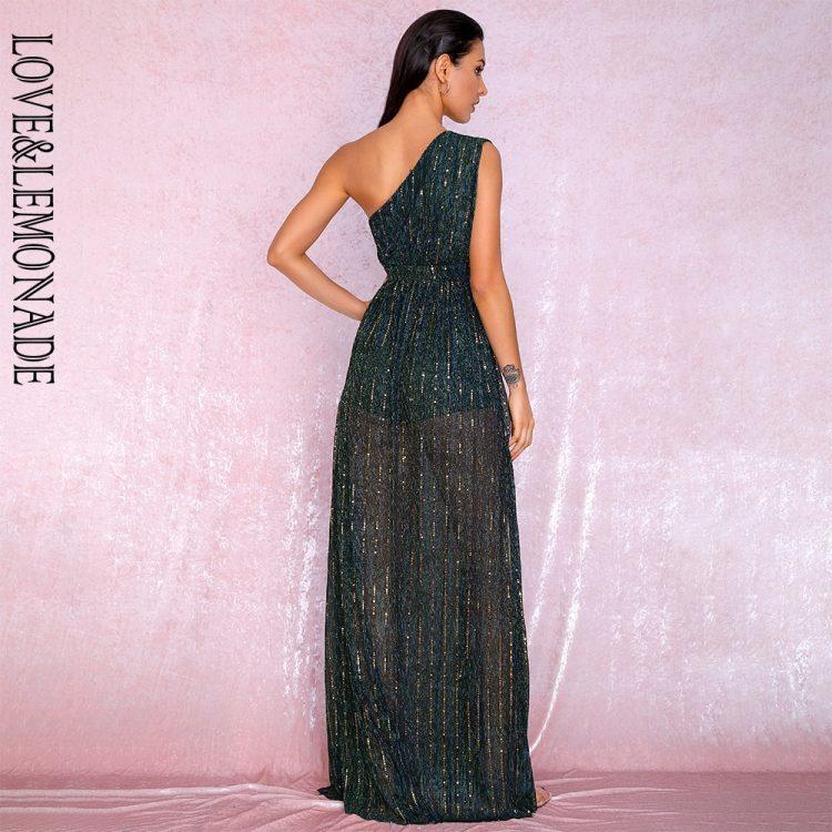 Długa zielona sukienka wieczorowa z asymetrycznym dekoltem 2