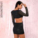 Dopasowana sukienka z wycięciami po bokach czarna 2