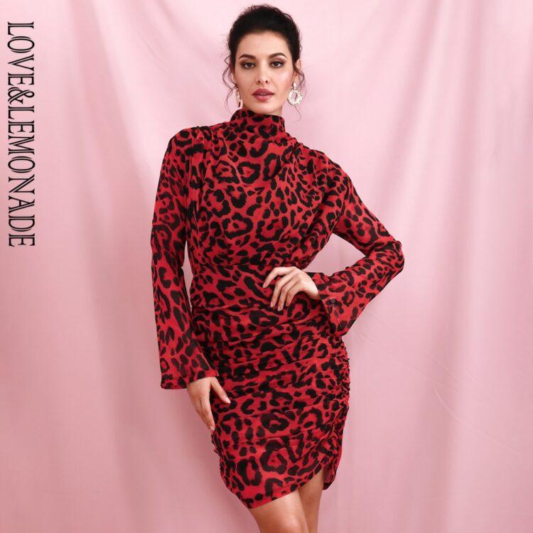 Drapowana sukienka w czerwoną panterkę z golfem 1