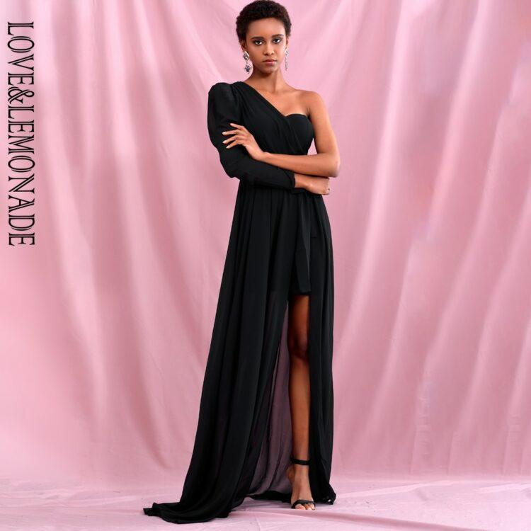 Elegancka sukienka maxi wieczorowa czarna z wiązaniem w pasie 1