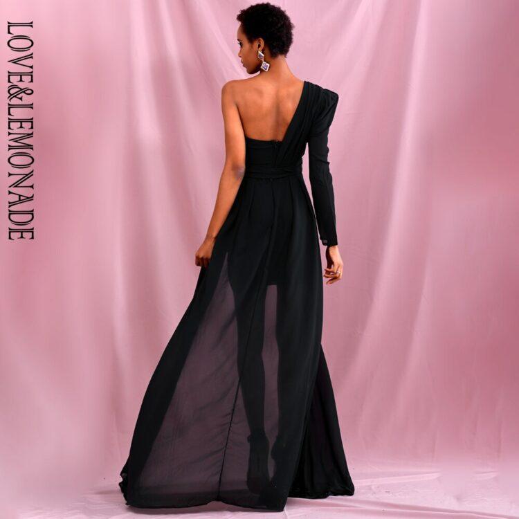 Elegancka sukienka maxi wieczorowa czarna z wiązaniem w pasie 2