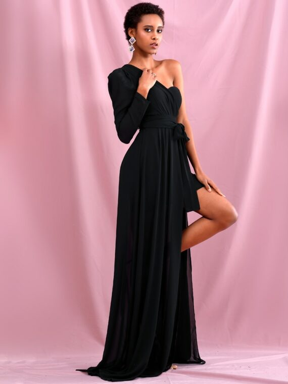 Elegancka sukienka maxi wieczorowa czarna z wiązaniem w pasie