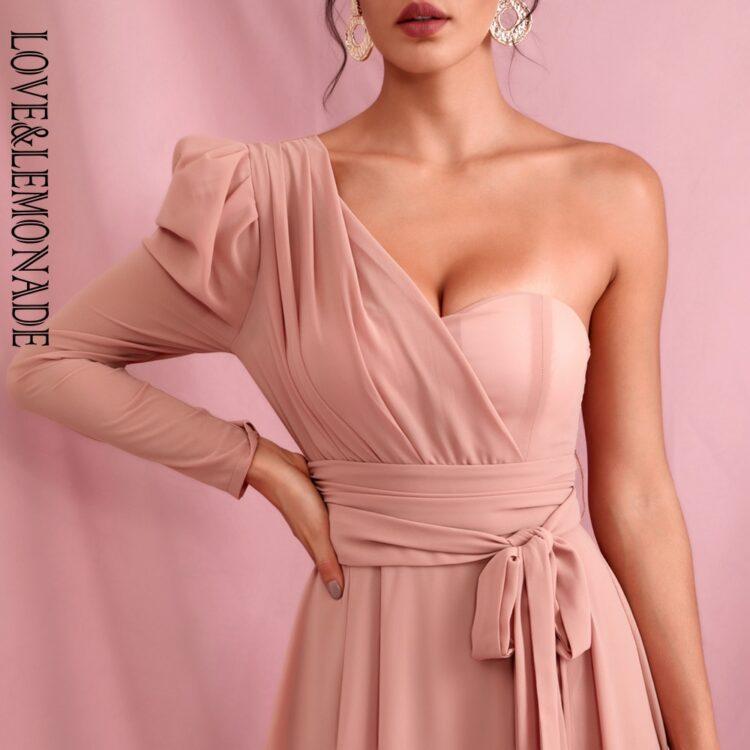 Elegancka sukienka maxi wieczorowa pudrowy róż z wiązaniem 1