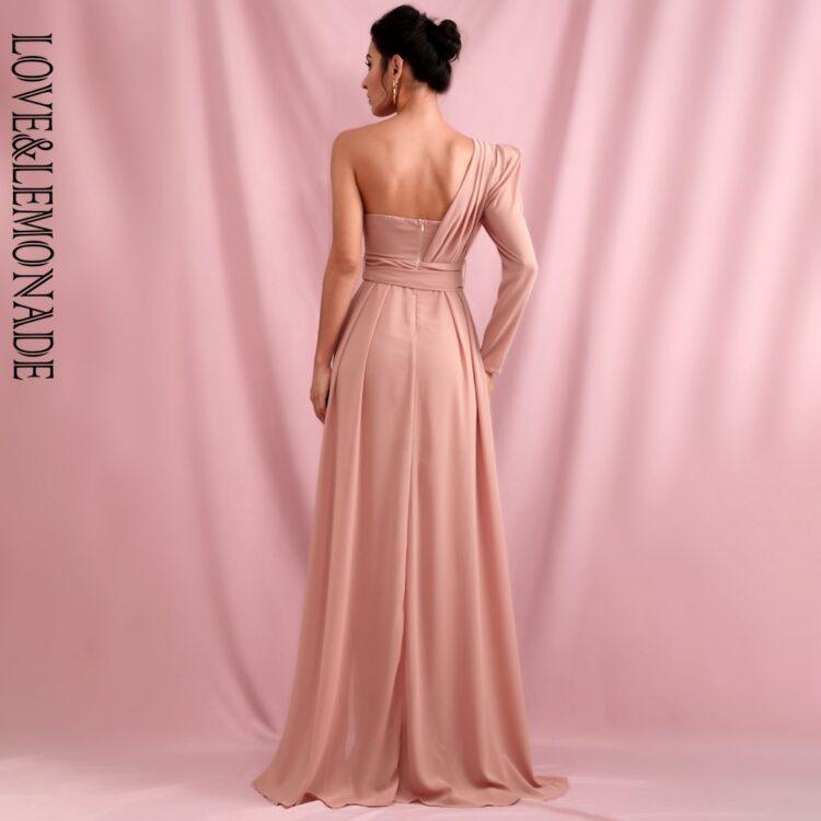 Elegancka sukienka maxi wieczorowa pudrowy róż z wiązaniem 2