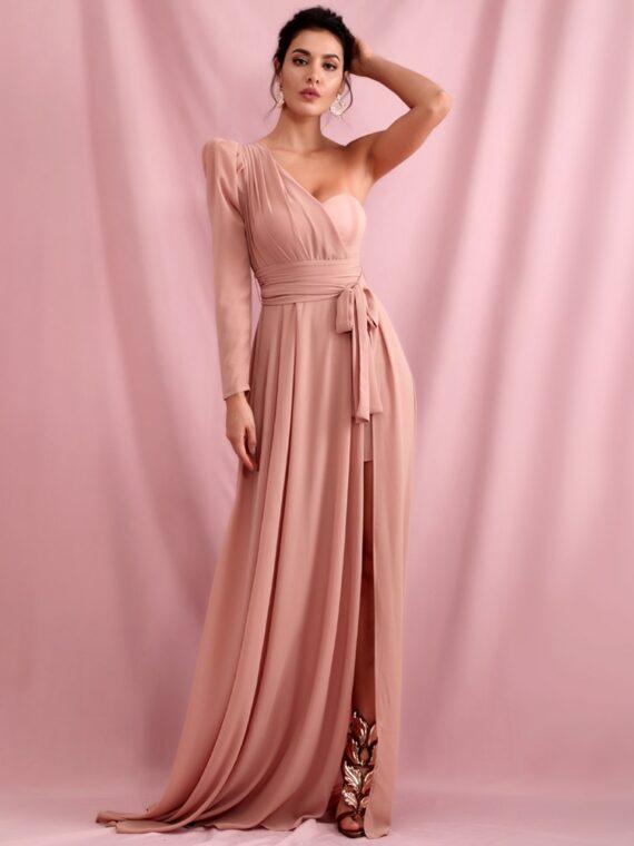 Elegancka sukienka maxi wieczorowa pudrowy róż z wiązaniem