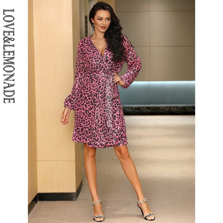 Fioletowa sukienka panterka kopertowa midi z paskiem 1