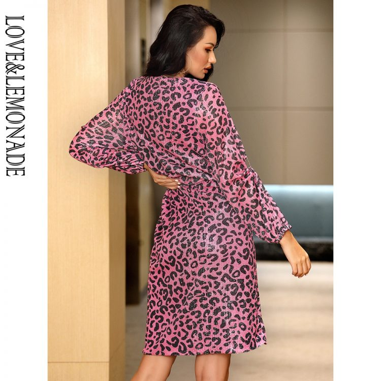 Fioletowa sukienka panterka kopertowa midi z paskiem 2