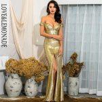 Gorsetowa złota sukienka maxi wieczorowa z opadającymi rękawami 1