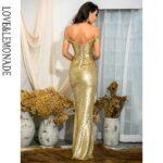 Gorsetowa złota sukienka maxi wieczorowa z opadającymi rękawami 2