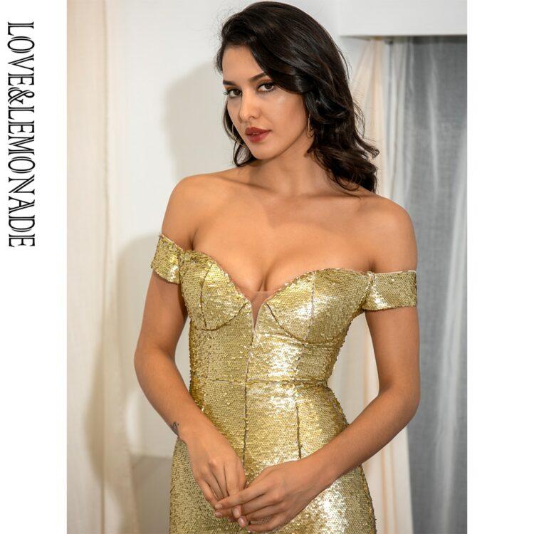 Gorsetowa złota sukienka maxi wieczorowa z opadającymi rękawami