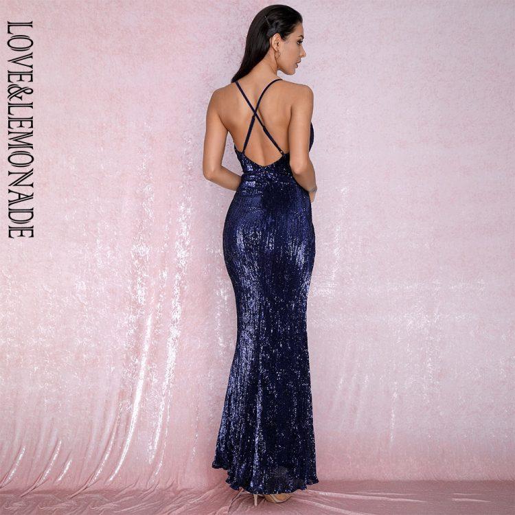 Granatowa długa sukienka wieczorowa z krzyżakiem na plecach 2
