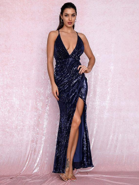 Granatowa długa sukienka wieczorowa z krzyżakiem na plecach