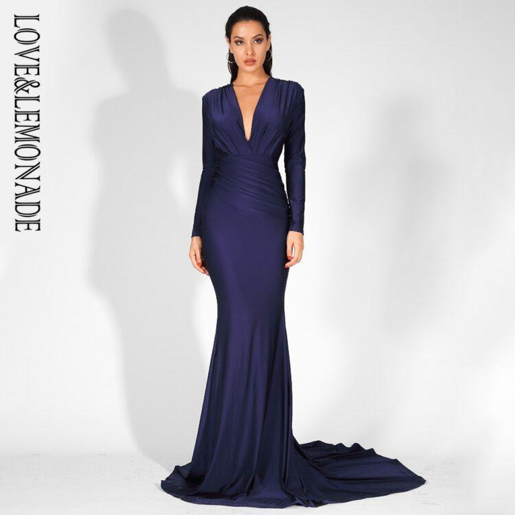 Granatowa wieczorowa sukienka elastyczna dopasowana kopertowa 1
