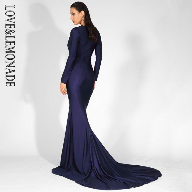 Granatowa wieczorowa sukienka elastyczna dopasowana kopertowa 2