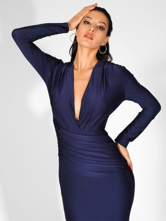 Granatowa wieczorowa sukienka elastyczna dopasowana kopertowa