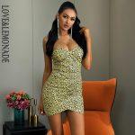Krótka żółta sukienka panterka bez ramiączek bodycon 1
