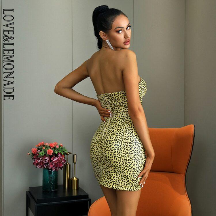 Krótka żółta sukienka panterka bez ramiączek bodycon 2