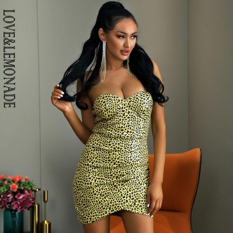 Krótka żółta sukienka panterka bez ramiączek bodycon