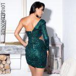 Morska zieleń sukienka z wycięciami w talii na jedno ramię 2