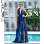 Niebieska panterka długa sukienka wieczorowa szyfonowa wiązana 1