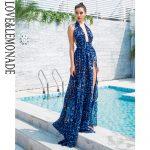 Niebieska panterka długa sukienka wieczorowa szyfonowa wiązana