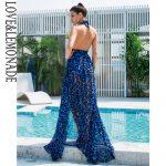 Niebieska panterka długa sukienka wieczorowa szyfonowa wiązana 2