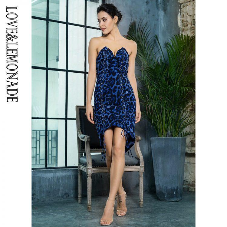 Niebieska panterka sukienka z wiązaniem z przodu bez ramion 1