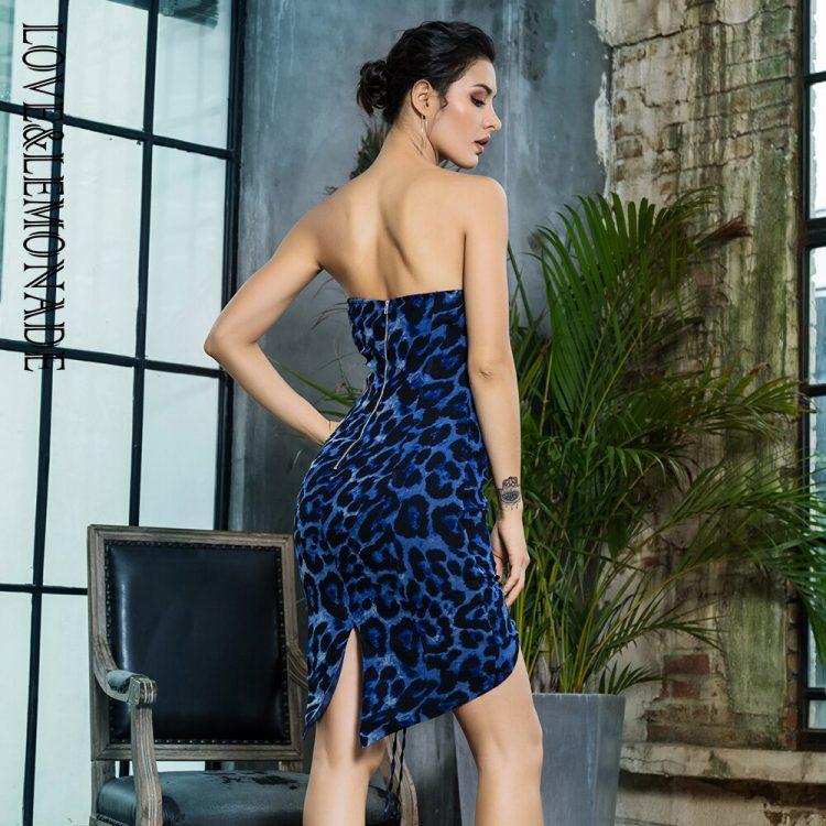 Niebieska panterka sukienka z wiązaniem z przodu bez ramion 2