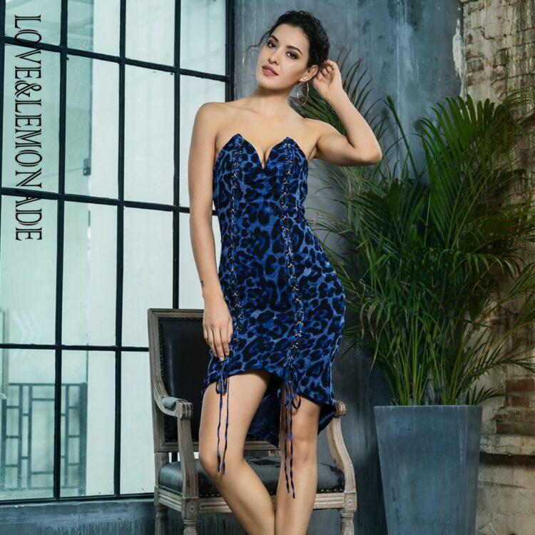 Niebieska panterka sukienka z wiązaniem z przodu bez ramion