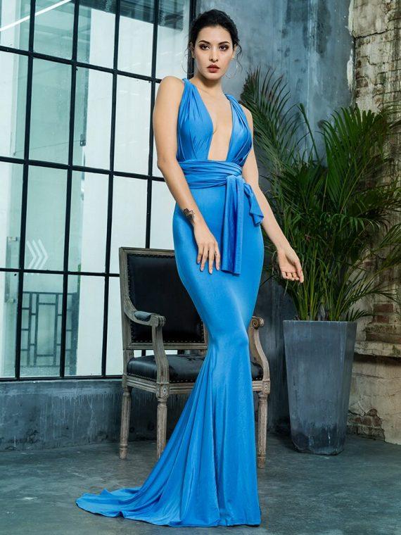 Niebieska sukienka maxi wieczorowa rybka z wiązaniem w pasie